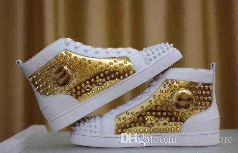 Bottom Sneakers Mens Flat Spikes White
