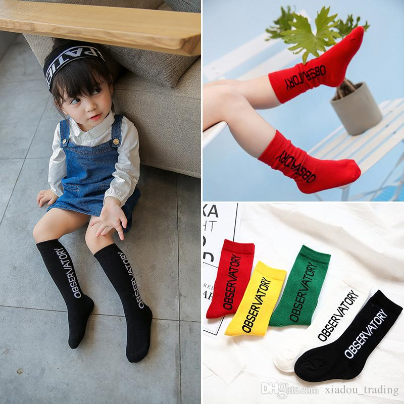 2017 Autumn and Winter Children Socks Wholesale 1-10 Years Old Princess Boys and Girls Children Candy Letters Jacquard Tide Socks Cotton