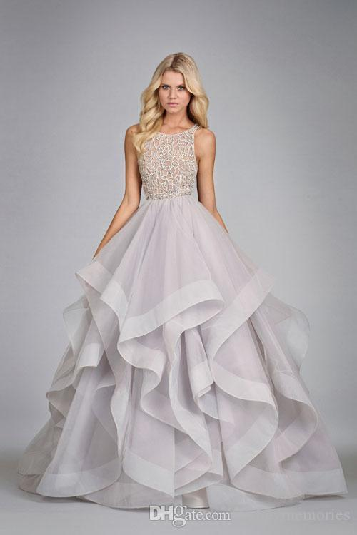 Romantic Light Purple Wedding Dressers Plus Size Crew Applique ...