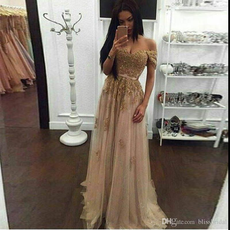 Champagne Lace Beaded Arabic Evening Dresses Sweetheart A-line Tulle Prom Dresses Vintage Cheap Formal Party Gowns