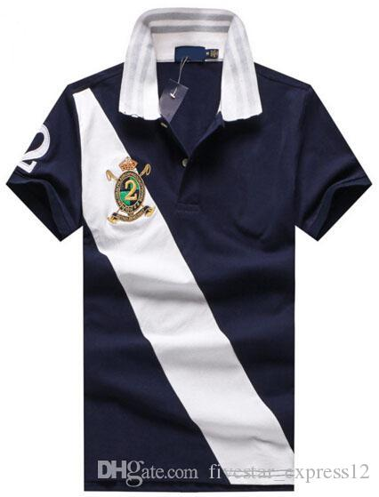 camisa de polo valor Compre americano de la manera del caballo grande del impreso los hombres de los polos de algodón cómodas hombre de negocios informal club de polo camisas M-XXL