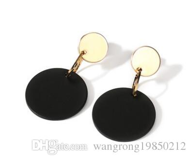Wafer black stud earrings earrings Female temperament long circular eardrop personality simple retro ears hanging earrings