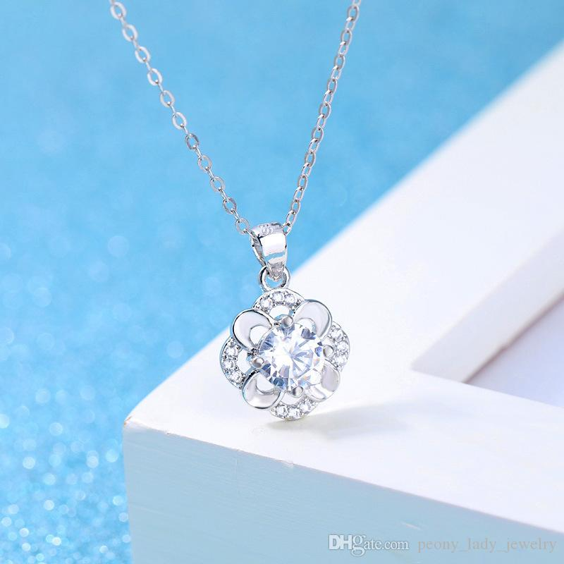 Silver plated necklace wedding crystal jewelry pendant flower bloom shaped vintage infinity new charms gift necklace
