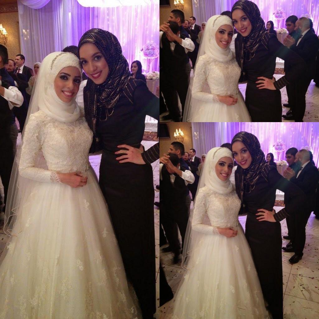 Großhandel Arabische islamische muslimische Brautkleider A-Linie mit ...