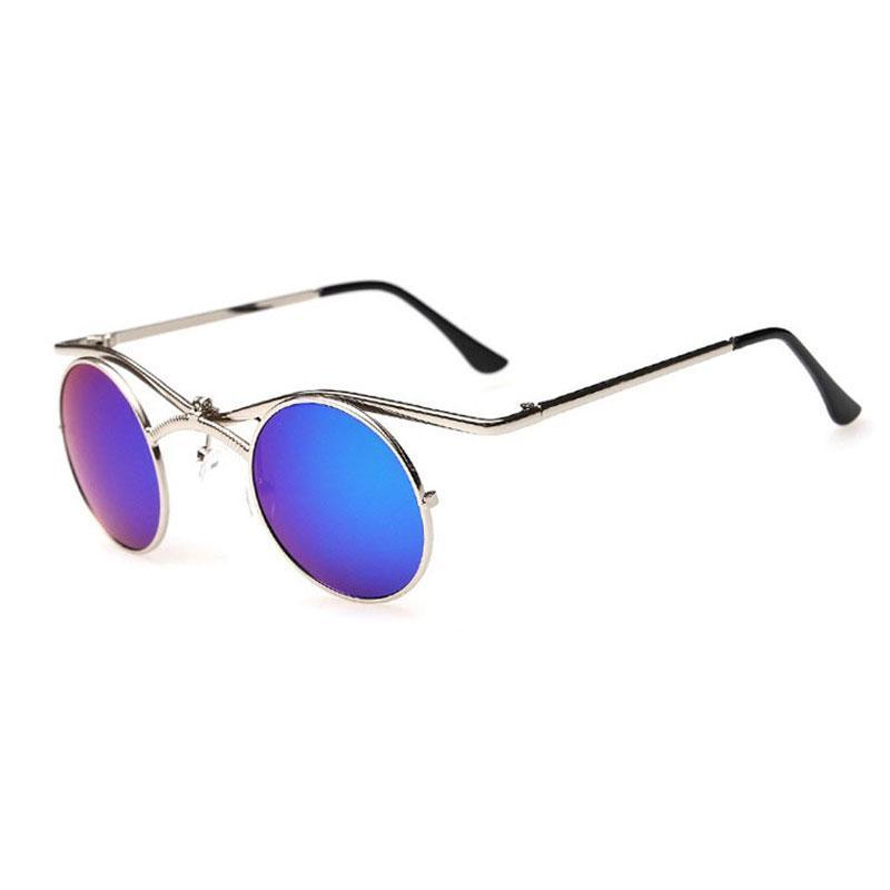 Мода популярные унисекс готический стимпанк очки вампир зеркало круглая рамка металл Мужчины Женщины солнцезащитные очки для партии очки завод Оптовая
