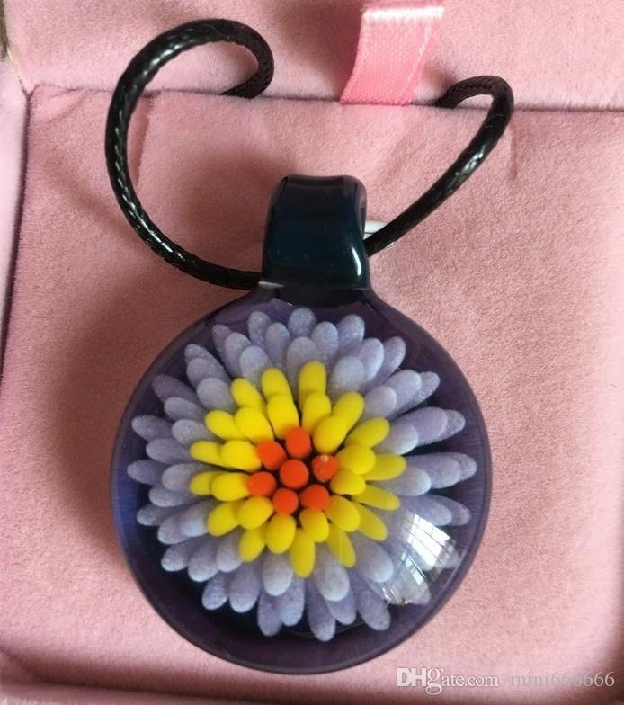 purple flower heady glass pendant blown glass pendant blown glass necklace pendant anniversary gift - Heady Glass Pendants