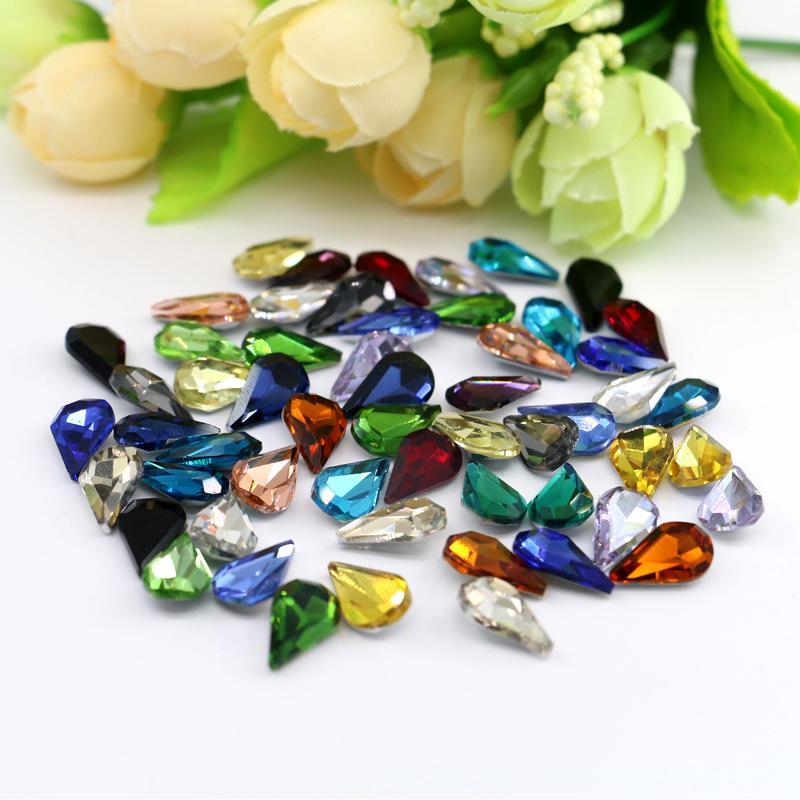 Kristal gümüş geri taş 8x13mm Armut Şekli 50 adet / torba Cam K5 Noktası Geri Fantezi Taş Gümüş Folyo Taş (10 Farklı Renk Mevcuttur)