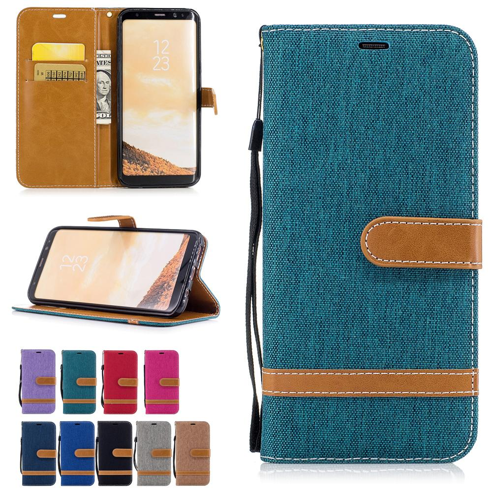 Per Samsung Galaxy S8 Plus Custodie Cover in tessuto di pelle da cowboy con tasche per carte Flip Bucklet Hand Strap