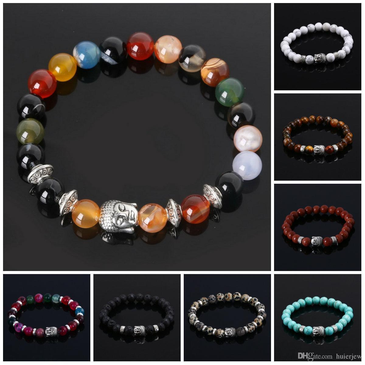 Mens Bracelets Bijoux De Luxe Perle Bijoux En Pierre Naturelle Pas Cher Ancre Perlé Bouddha Bracelets Pour Hommes Femmes Bouddha Lava Chakra Bracelet