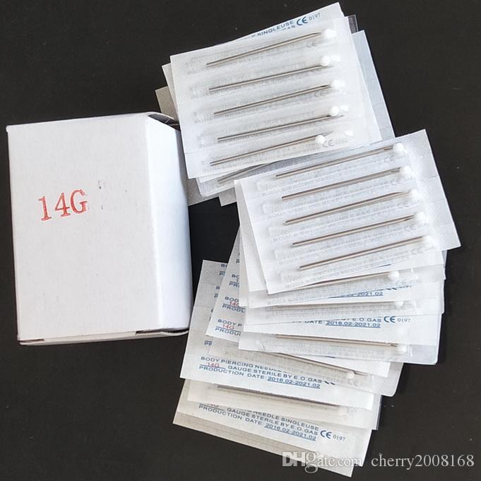100 Adet / kutu 14G Tek Kullanımlık Steril Vücut Piercing İğneler Dövme Aksesuarları Malzemeleri