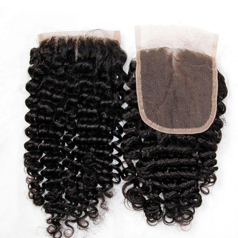 Peru Kıvırcık Bakire Saç Dantel Kapatma Ücretsiz Orta Kısım İnsan Saç Kapatma Perulu Derin Kıvırcık Saç Üst Dantel Closures 4x4Size Doğal Siyah