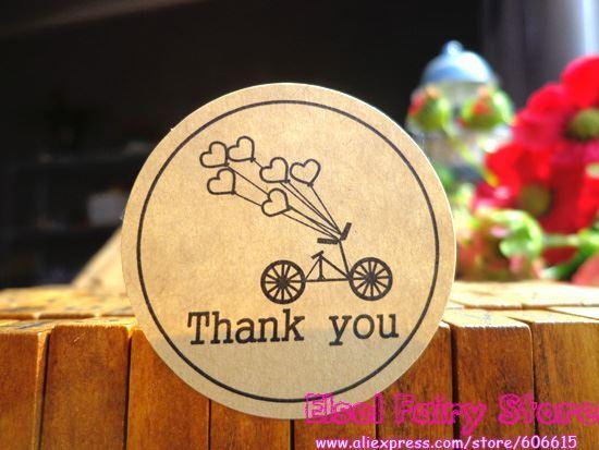 600pcs rotonda Kraft Seal Sticker Bicycle Holiday Design Grazie punto regalo Sticker per il regalo di favore del partito Candy Bag Decor