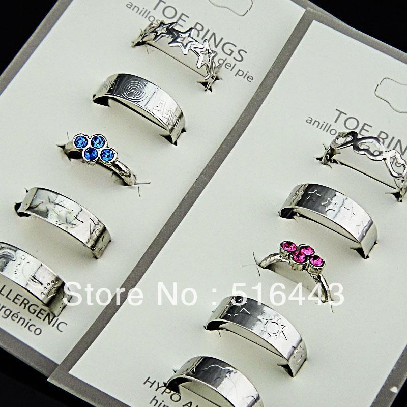 Estilo de la mezcla 20pcs Austria Rhinestones Fashion Women Toe Rings envío gratis Wholesale Jewelry Lots