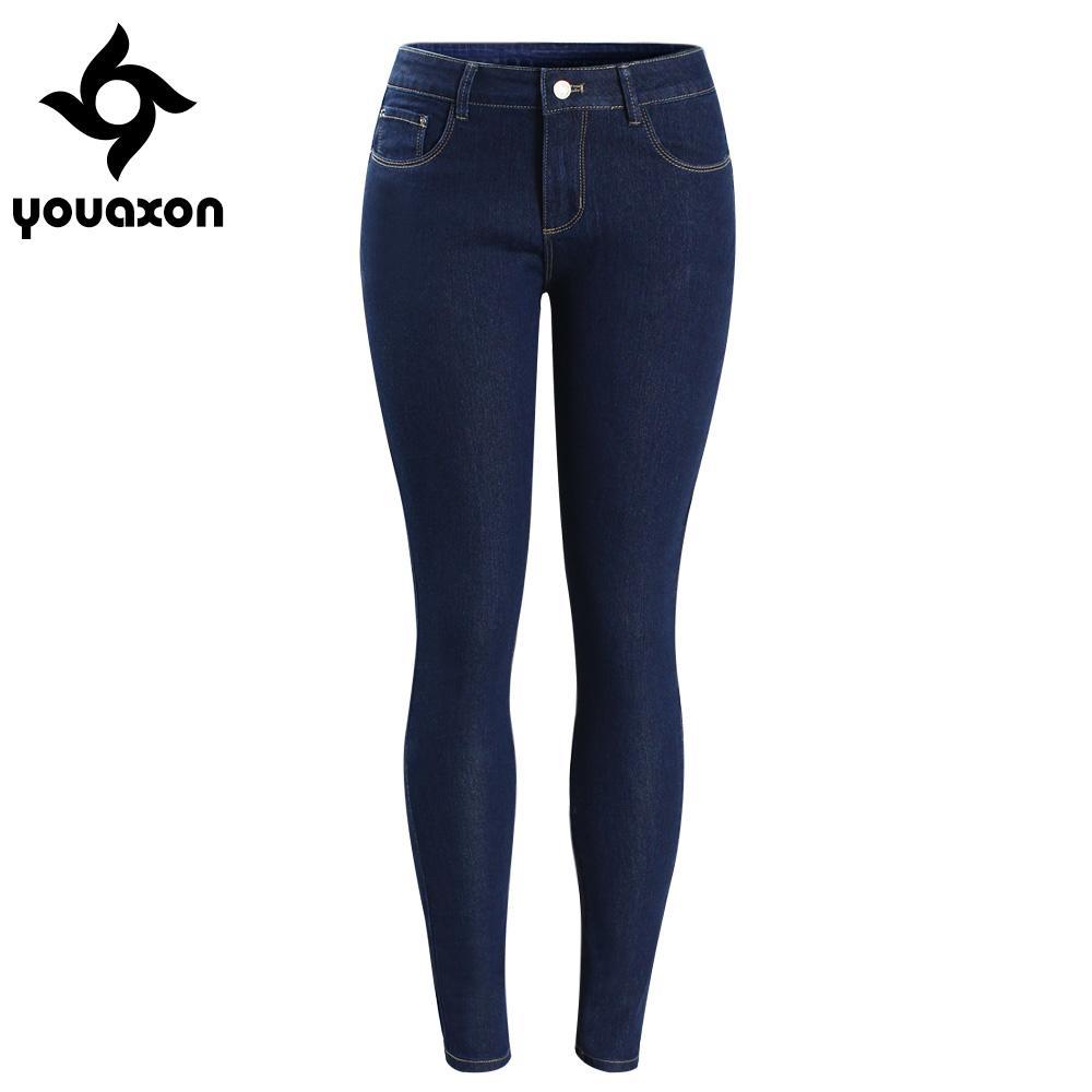 도매 - 2092 Youaxon Women`s Basic 다크 블루 중급 로우 허리 신축성있는 스키니 스키니 트루 데님 바지 Jeans for Jean