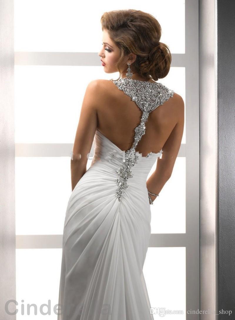 2017 New Beading Sheath Wedding Dresses Side Split Spaghetti Crystal ...