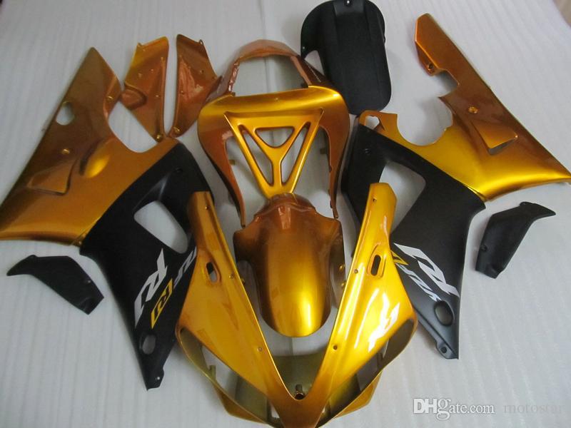 Top selling fairing kit for Yamaha YZF R1 2000 2001 gold black fairings set YZFR1 00 01 OT29
