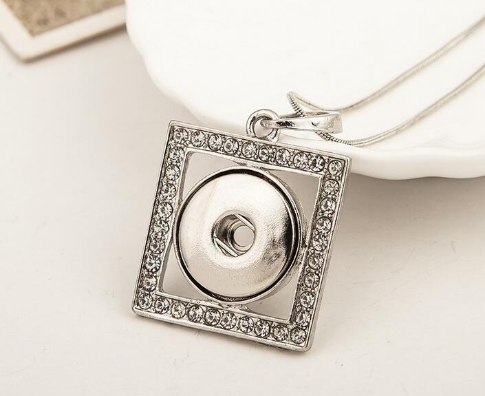 20 Unids Cristal Cuadrado Collares de Plata 18 MM Noosa Chunk Ginger Snap Botones para Collar DIY Joyería Broche collares pendientes 2017 Nuevo