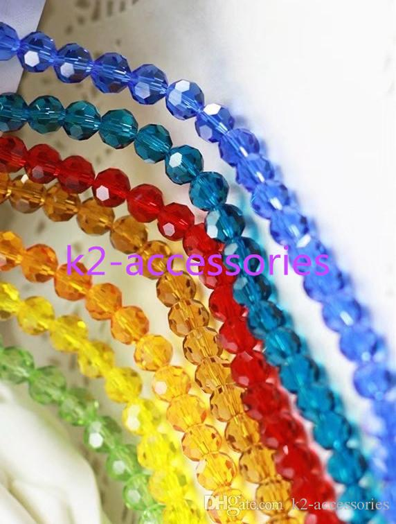 AB 여러 가지 빛깔의면 처리 된 공 크리스탈 느슨한 비즈면 처리 6MM 목걸이 팔찌 색 보석 결정