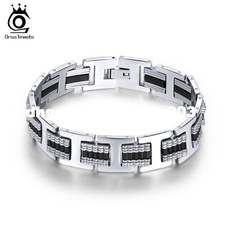 ORSA JEWELS Silicone Tension Mount Design Men's Bracelet Fashion Charming Cool Gift for Boy Friend 20.3 CM GTB12