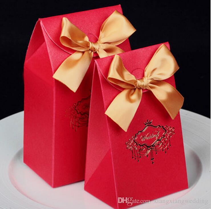 Faveur de mariage Boîte de bonbons Sac bonbons de mariage de style chinois avec une perle de haute qualité WTIH imprimé modèle imprimé