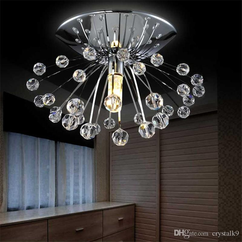 Moderna plafoniera in cristallo Mini Lustre Cristal Lampada a Led Home Bar Store Lampada da soffitto a soffitto soggiorno LED