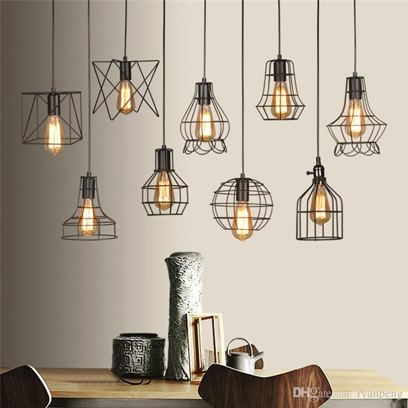 Retro Lamp Shades Industry Metal Pendant Lamps Holder Vintage Style Iron  Hanging Light Shade Edison Bulb Covers Drop light Shipping 2018 from  ryanpeng, ...