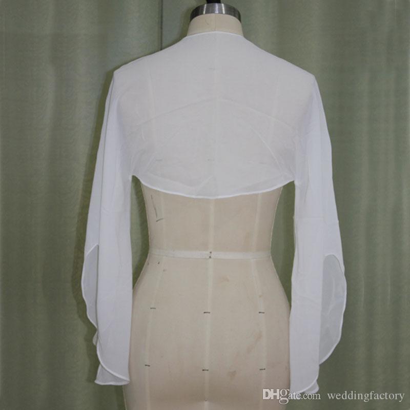 Günstige Chiffon Bolero Jacke mit Bell Sleeves Real Bild Hochzeit Boleros Jacken nach Maß Freies Verschiffen