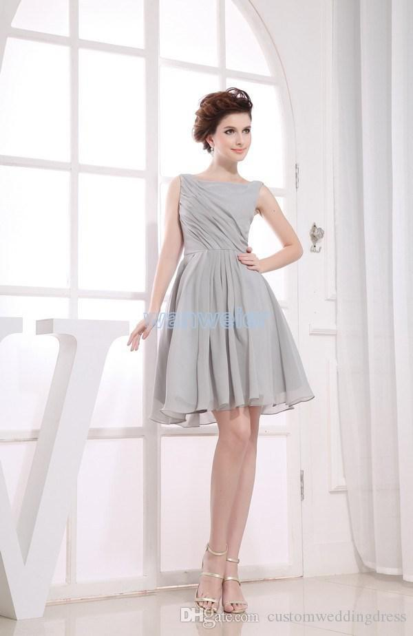 free shipping real picture 2018 new heigh neck chiffon sliver custom plus size short Bridesmaid Dresses