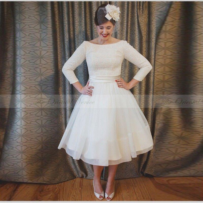 Quarter Sleeve Tea Length Dress