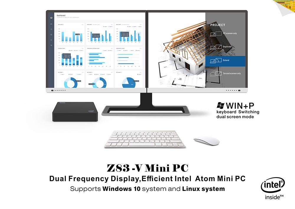 2019 Z83V Mini PC With VGA Port Genuine CPU Intel Atom X5 Z8350 Processor  2GB 32GB Intel HD Graphics 400 Windows 10 OS Portal Computer From Milike,