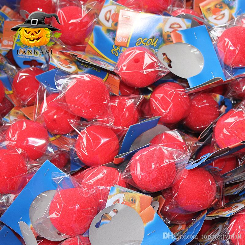 50Pcs 5cm Decoration Sponge Ball Red Clown Magic Nose for Halloween Masquerade Decoration Funny Props RED Foam Ball Free Shipping