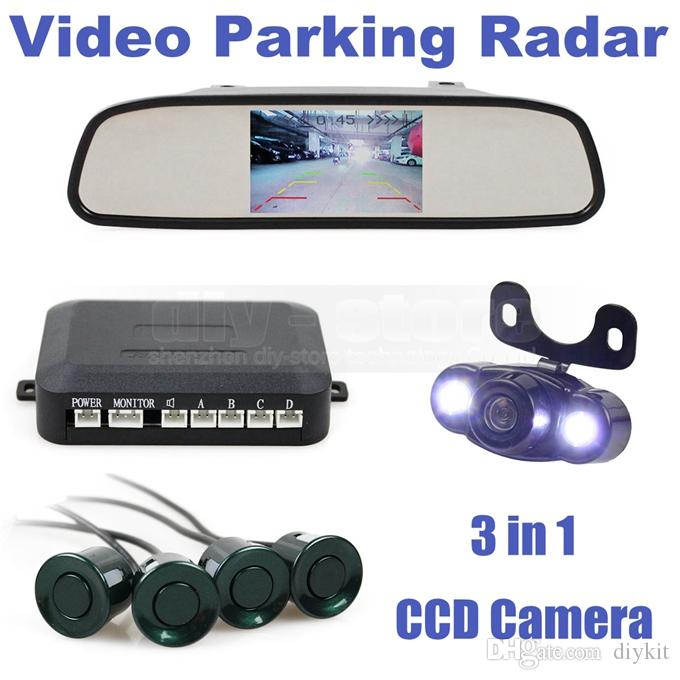 Video Parking Radar 4 Sensors 4.3 Inch Car Mirror Monitor + LED Night Vision Rear View Car Camera Parking Assistance System