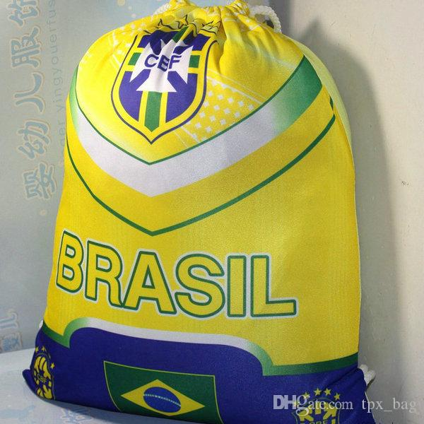 Brasil backpack Soccer play drawstring bag Country team daypack Football rucksack Sport string rope pocket Outdoor day pack
