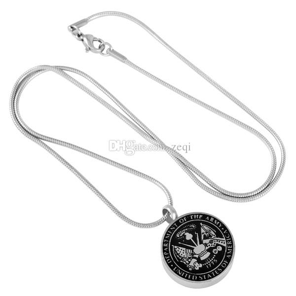 ZWT8417 USA Army Navy and Air Force Memorial Necklace Anniversary Keepsake Cremation Ashes Holder Urn Pendant Necklace