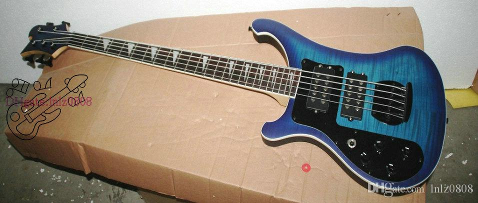 Free shipping Custom Blue 5 Strings 4003 Left Handed Electric Bass Wholesale Musical instruments