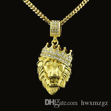 Lion Head Crown King Colgantes Collares Hombres Hip Hop Charm Chain Bling Jewelry