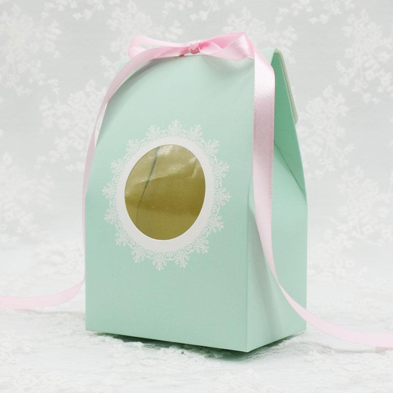 Bolsas De Regalo 20pcs/pack: 9.8x6.5x14.5cm Blue Bud Silk Pvc Clear Window Nougat Box Gift Bag Cookies Pastry Candy Diy Baking Packaging