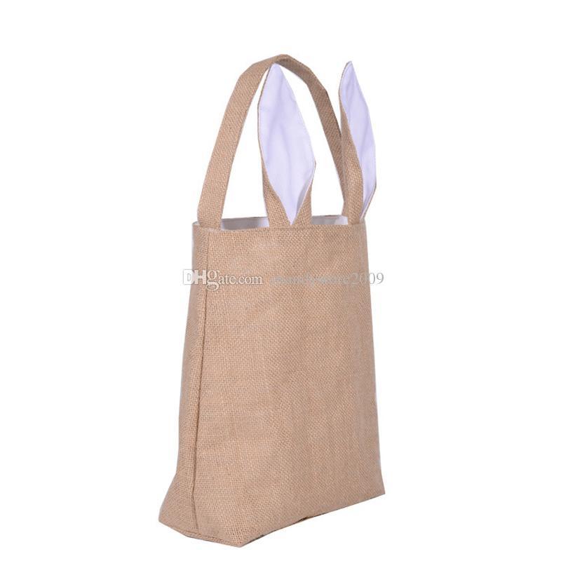 5 ستاجت القطن الكتان عيد الفصح أرنب آذان سلة حقيبة ل هدية عيد الفصح التعبئة عيد الفصح حقيبة يد الطفل الرصيف هدية 255305100mm