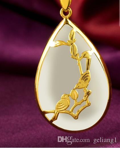Золото инкрустированные Джейд капли белой воды сорока на Мэй (талисман) ожерелье кулон (улыбки)