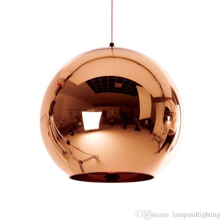 현대 골드 실베 구리 도금 된 유리 공 글로브 단일 펜 던 트 램프 E27 홀더 룸 바 저장소 장식