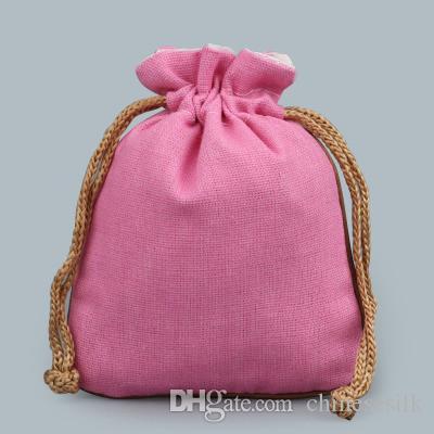 Blank Gioielli Plain Piccolo coulisse Pouch Cotone Lino Eco regalo fai da te Sacchetti per imballaggio moneta Profumo Storage Bag vuoto Lavanda spezie Pocket