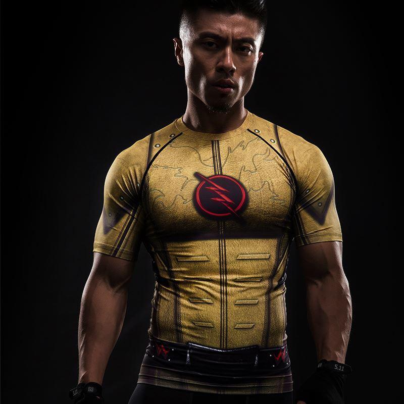 Costume Cosplay Reverse Flash 3D Imprimé T-shirts Hommes Raglan À Manches Courtes Super-Héros De Compression Chemise Fitness Vêtements Tops Mâle