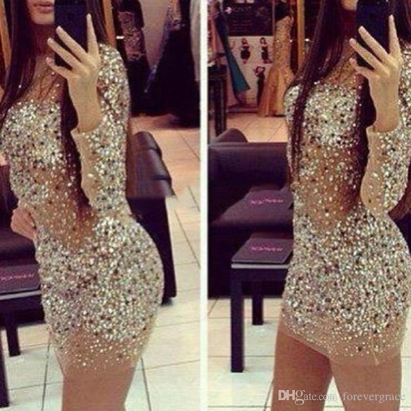 Luxury Gorgeous New Sparkly Transparent See Through Prom Dress Long Sleeves Short Mini Evening Party Gown Custom Made Plus Size