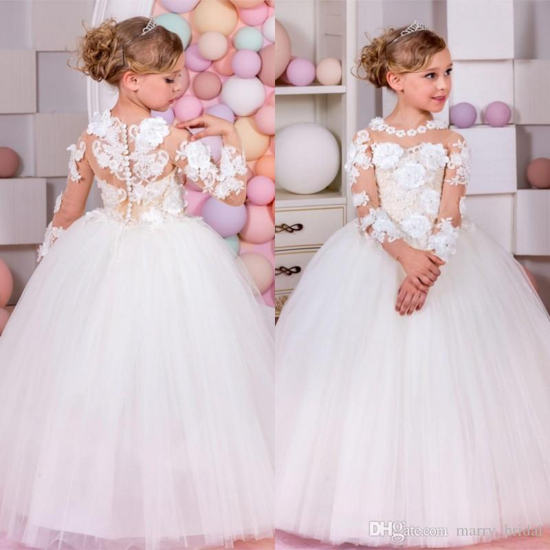 Compre Elegante Vestido De Niñas De Flores Blancas Para Bodas Appliques De Niñas De Manga Larga Partido De Vestidos De Fiesta Vestido De Baile De