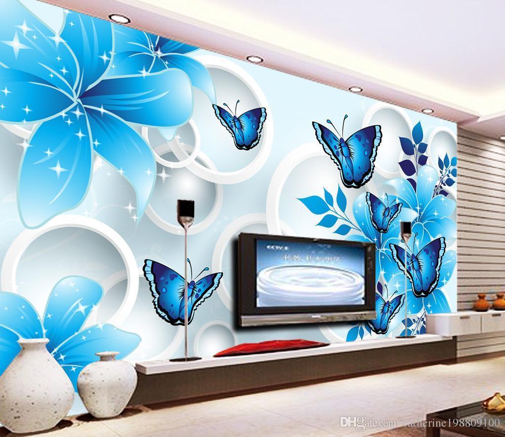 Luxo Europeu Moderno Azul Lírio Borboleta 3D TV Mural 3D papel de parede 3d papéis de parede para tv pano de fundo