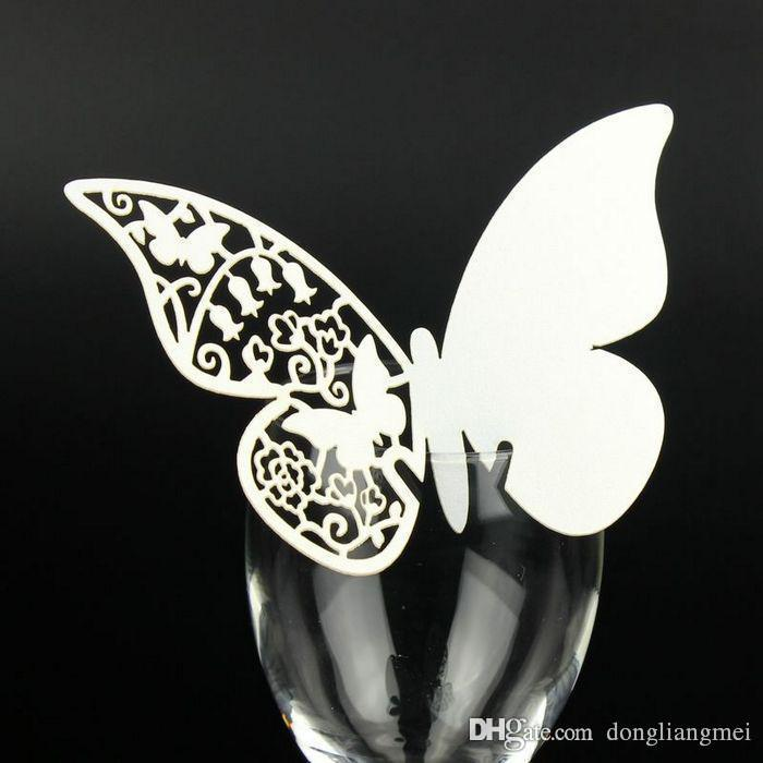 new hallow Laser Cut Butterfly wedding Place Card hold on Wine Glass Card for Wedding Party Decoration z110