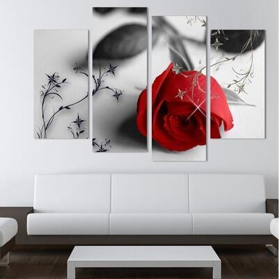 Hiçbir Çerçeve 4 Parça Güzel Kırmızı Gül Çiçekler Duvar Boyama Modern Ev Oturma Odası Duvar Dekor Baskı Resim Fotoğraf Tuval