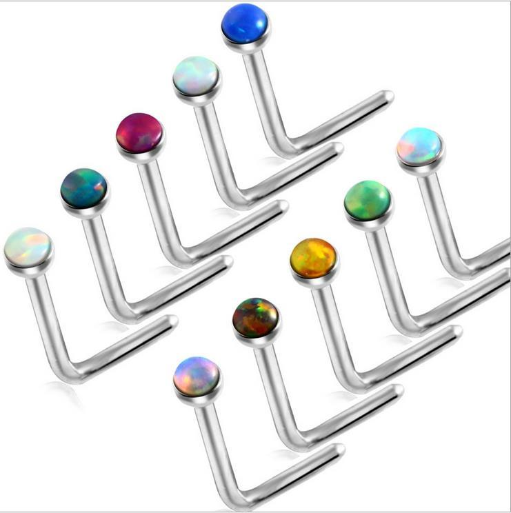 The new European style nose nail opal Jeweled lip nail body piercing jewelry Unisex Earrings 10 colors