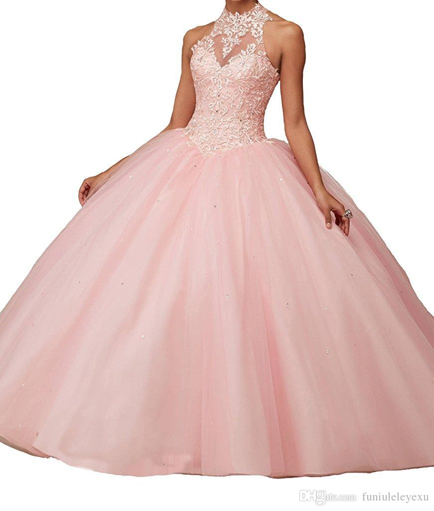 Custom New Ball Gown Halter Sleeveless Backless Long Prom Dress Formal Tulle Lace Quinceanera Dresses Red Pink Teal