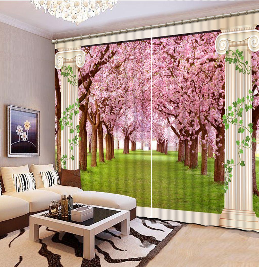 Europäischer moderner römischer rosafarbener Waldgewohnheitsvorhangmodedekorhauptdekoration für Schlafzimmer
